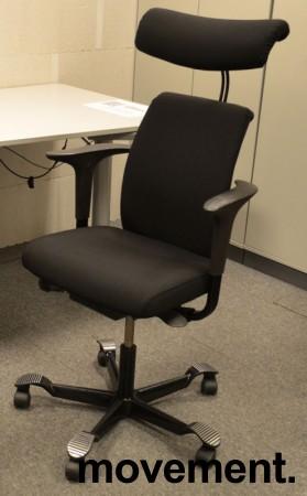 Håg H05 5500 kontorstol med nakkepute og armlene, nytrukket i sort bilde 1