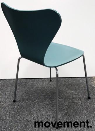 Arne Jacobsen 7er-stol / syver-stol, model 3107, i 955 Støvgrønn, understell i krom, pent brukt bilde 2