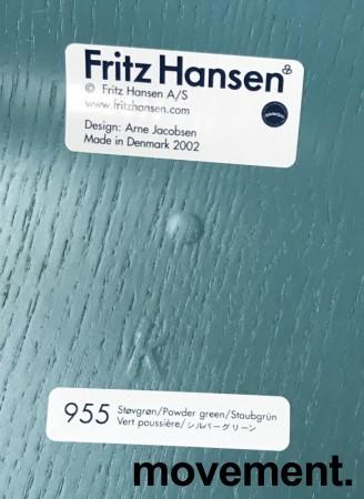 Arne Jacobsen 7er-stol / syver-stol, model 3107, i 955 Støvgrønn, understell i krom, pent brukt bilde 4