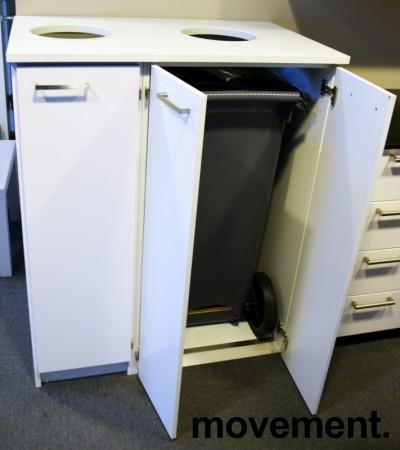 Miljøstasjon / sorteringsstasjon for kontoravfall i lys grå / hvit, 97cm bredde, pent brukt bilde 1
