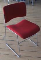 Howe 40/4 konferansestol / stablestol rødt stoff / krom, pent brukt