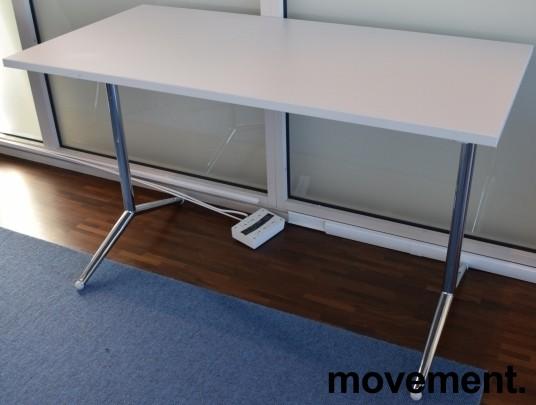 Lekkert klappbord / sammenleggbart kursbord / arbeidsbord i hvitt/krom, 120x60cm, brukt bilde 2