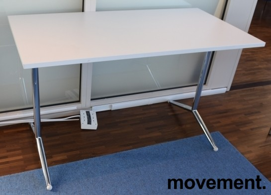 Lekkert klappbord / sammenleggbart kursbord / arbeidsbord i hvitt/krom, 120x60cm, brukt bilde 1