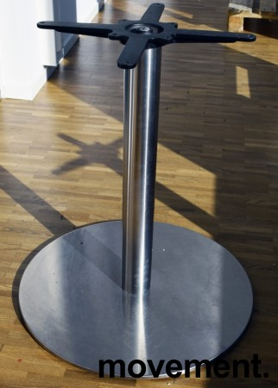 Søyle / søylefot i rustfritt stål for rundt bordplate eller møtebord, Ø=60 base, H=69, stort platefeste, pent brukt bilde 2