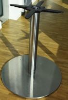 Søyle / søylefot i rustfritt stål for rundt bordplate eller møtebord, Ø=60 base, H=69, stort platefeste, pent brukt