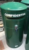 Store søppelbøtter for sikkerhetsmakulering, låsbare, pent brukt