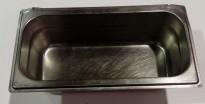 Gastronorm / GN-bakker, rustfritt stål, 4stk 1/3 lave med lokk selges samlet, pent brukt