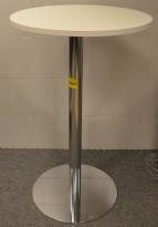 Ståbord / barbord med rund bordplate i hvitt, Ø=70cm, understell i krom, pent brukt understell / NY plate