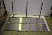 Vegghylle i rustfritt stål for storkjøkken, 170cm bredde / 31cm dybde, 2 hylleplan, pent brukt