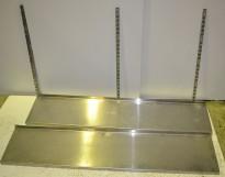 Vegghylle i rustfritt stål for storkjøkken, 145cm bredde / 30cm dybde, 2 hylleplan, pent brukt