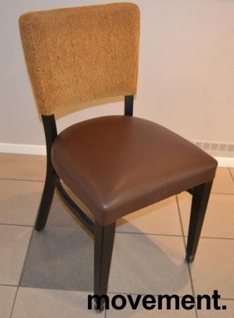 Solid kaféstol / restaurantstol fra Ton med sete i brun skinnimitasjon og rygg i gult stoff, pent brukt bilde 1