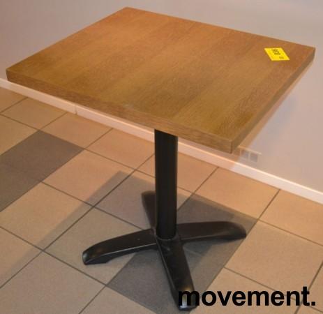 Kafebord med bordplate i eik finer, 70x60cm bordplate, 77cm høyde, pent brukt bilde 2