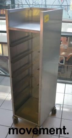 Brettralle / brettvogn med 5 hyller for kantinebrett, pent brukt bilde 1