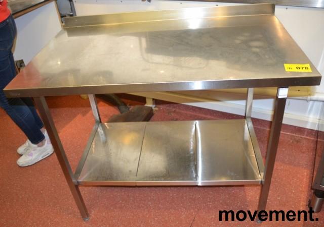 Arbeidsbenk i rustfritt stål 112cm bredde, 65cm dybde, 88cm høyde, pent brukt bilde 1