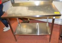 Arbeidsbenk i rustfritt stål 112cm bredde, 65cm dybde, 88cm høyde, pent brukt