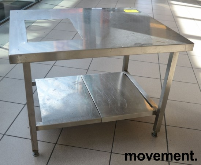 Lav benk / stativ til ovn i rustfritt stål, hull i plate, 79x65cm, høyde 58cm, pent brukt bilde 2
