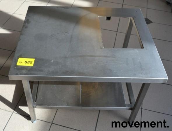 Lav benk / stativ til ovn i rustfritt stål, hull i plate, 79x65cm, høyde 58cm, pent brukt bilde 1