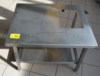 Lav benk / stativ til ovn i rustfritt stål, hull i plate, 79x65cm, høyde 58cm, pent brukt