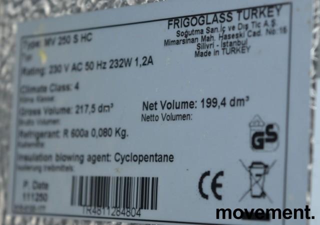 Dobbelt bruskjøleskap m/glassdør fra Frigoglass, 90cm bredde, 87cm høyde, pent brukt bilde 2