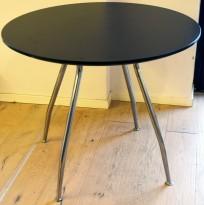 Rundt møtebord fra Foraform, Ø=90cm H=73cm, sort bordplate, krom understell, pent brukt