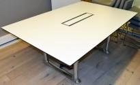 ForaForm Colonnade møtebord i hvitt / sort / krom, 180x120cm, passer 6-8 personer, kabelluke, pent brukt