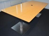Møtebord i bjerk / børstet stål, 240x110cm, passer for 8-10 personer, pent brukt