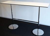 Ståbord / barbord i hvitt med sort kant, krom understell, 165x55cm, 107cm høyde, pent brukt