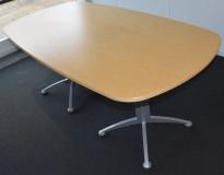 Kompakt Kinnarps møtebord i bjerk, 180x90cm grått understell, pent brukt