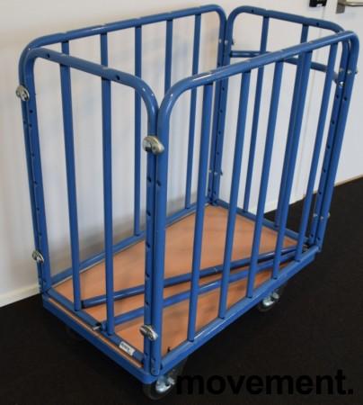 Tralle med blå ramme i metall, avtakbare topp-rør medfølger, pent brukt bilde 2