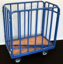 Tralle med blå ramme i metall, avtakbare topp-rør medfølger, pent brukt