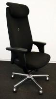 Savo XO HLN direktørstol, høy rygg, nakkepute og armlene, sort stoff, pent brukt