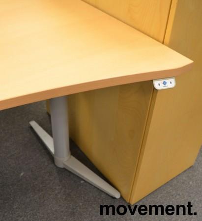 Edsbyn skrivebord med elektrisk hevsenk i bøk, 180x90cm, mavebue, NY PLATE / pent brukt understell bilde 3
