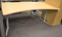 Edsbyn skrivebord med elektrisk hevsenk i bøk, 180x90cm, mavebue, NY PLATE / pent brukt understell