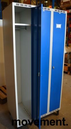 Garderobeskap i stål, lys grå med dører i blått, Sarpsborg metall, 3 rom. 90cm bredde, 55cm dybde, 199cm høyde, pent brukt bilde 2