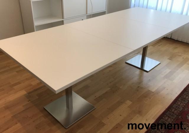 Møtebord / konferansebord i hvitt / satinert stål (rund fot), 240x100cm, NY / UBRUKT bilde 1