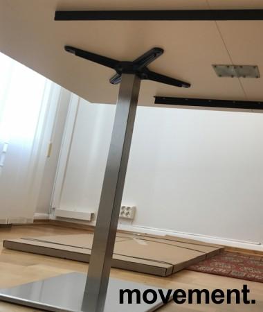 Møtebord / konferansebord i hvitt / satinert stål (rund fot), 240x100cm, NY / UBRUKT bilde 3