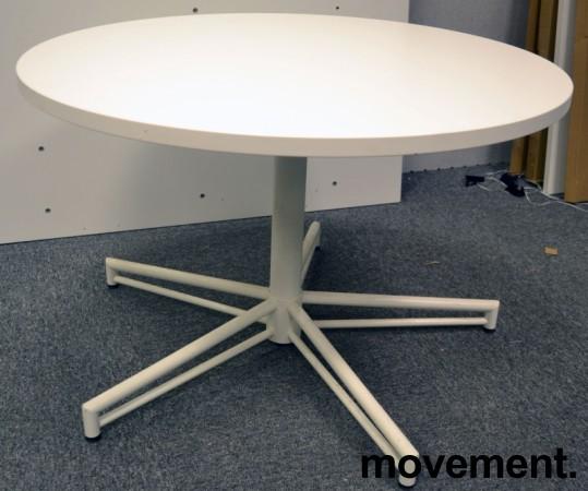 Rundt loungebord i hvitt, Ø=90cm, H=57cm, pent brukt understell / NY / UBRUKT plate bilde 1