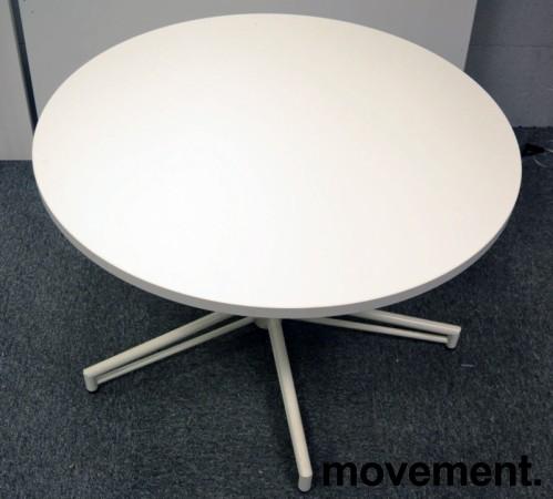 Rundt loungebord i hvitt, Ø=90cm, H=57cm, pent brukt understell / NY / UBRUKT plate bilde 2