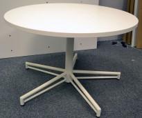 Rundt loungebord i hvitt, Ø=90cm, H=57cm, pent brukt understell / NY / UBRUKT plate
