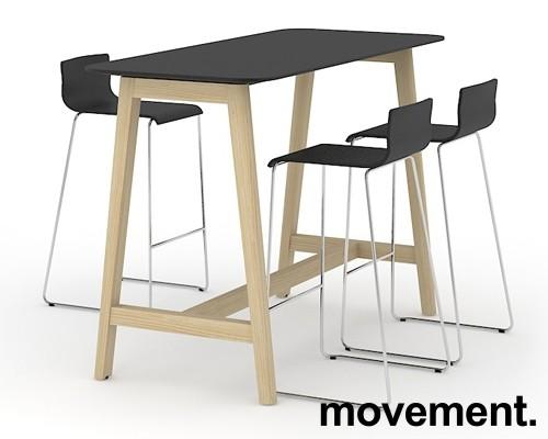 Barbord / ståbord i sort HPL med avrundet sort kant, ben i heltre ask, 180x70cm, høyde 105cm, NY / UBRUKT bilde 2