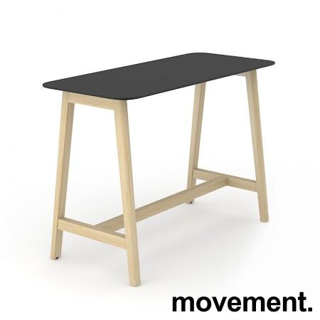 Barbord / ståbord i sort HPL med avrundet sort kant, ben i heltre ask, 180x70cm, høyde 105cm, NY / UBRUKT bilde 1