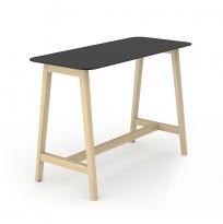 Barbord / ståbord i sort HPL med avrundet sort kant, ben i heltre ask, 180x70cm, høyde 105cm, NY / UBRUKT