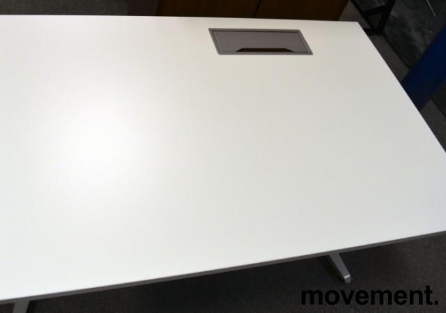 Hvit, rektangulær bordplate til skrivebord med kabelluke på høyre side, 120x80cm, kabelluke i grått, NY/UBRUKT