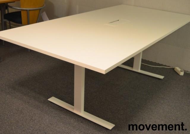 Møtebord i hvitt med kabelluke og kabelsamler, 200x100cm, passer 6-8personer, NY / UBRUKT bilde 2