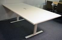 Møtebord i hvitt med kabelluke og kabelsamler, 200x100cm, passer 6-8personer, NY / UBRUKT