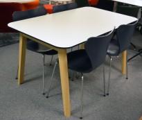 Skrivebord / kantinebord / spisebord i hvit HPL med sort kant, ben i heltre ask, 140x80cm, høyde 74cm, NY / U/BRUKT