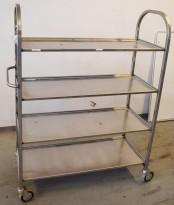 Kantinetralle / trillevogn med 4 hyller i rustfritt stål, 110,5x48x5x151cm, pent brukt