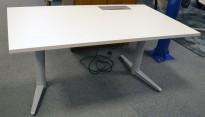 Skrivebord med elektrisk hevsenk fra Edsbyn i hvitt / grått, 140x80cm med kabelluke og kabelbrønn, ny plate, pent brukt understell
