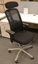 HÅG Sofi Mesh kontorstol i sort stogg / mesh rygg, armlene og nakkepute, pent brukt 2017-modell