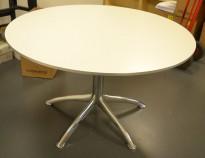 Rundt møtebord i hvitt / krom fra Segis, K Collection, Ø=120cm, høyde 73cm, pent brukt